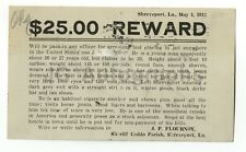 Wanted Notice - J.G. Simpson - Shreveport, Louisiana - $25 Reward