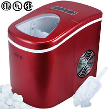 Portable Countertop Ice Cube Maker Compact Tabletop Touch Control 26 lb/day, Red