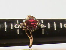 Beautiful 14k Gold Red Stone with Diamonds  Ring.