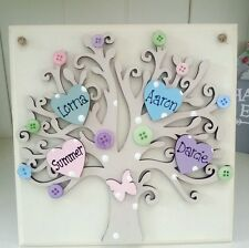 Personalised wooden family tree keepsake shabby sign plaque mothers day gift