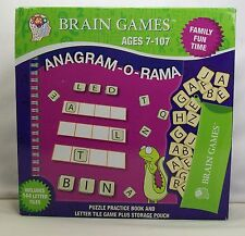 Brain Games Anagram -O- Rama Letter Tile Game & Puzzle Book w/ Storage Pouch New