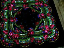 WOMANS SCARF SCARVE SHAWL 50 X 50 FLORAL RUSSIAN LOOK PINK GREEN BLACK