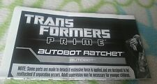 TRANSFORMERS PRIME AUTOBOT RATCHET INSTRUCTION BOOKLET ONLY MINT