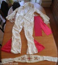 Elvis Presley white jumpsuit Rubies costume w/ wig adult L 1980's