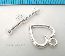 1x BRIGHT STERLING SILVER SWEET HEART CLASSIC TOGGLE CLASP 12.8mm #2347