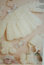 Baby's Matinee Cardigan, Bootees, Hat and Mits Knitting Pattern