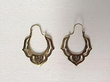 large Tribal Brass Hoop Earrings Antique Filigree Boho Ethnic Belly Dance Gypsy