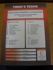 22/09/2007 Colour Teamsheet:  Crewe Alexandra v Millwall  . Thanks for viewing t