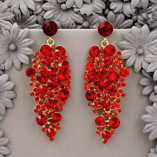 18K Gold Plated Sparkle Red Crystal Rhinestone Chandelier Ear-nail Earrings