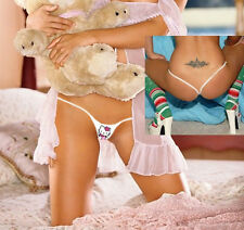 SEXY PINK HELLO KITTY MICRO PARTY THONGS CROTCHLESS WHITE BAND DANCER Y BACK