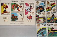 PHILIPPINES PHILIPPINEN 1988 1884-89 Block 34 1955-61 Olympics Seoul Sports MNH