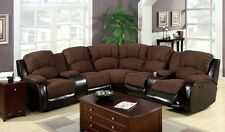 Comfortable Sectional Recliner Brown Sofa Transitional Designed For Living Room