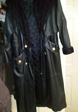 LEATHER VINTAGE LONG COAT W HOOD. VELVETY INSIDE. GOLD BUTTONS WE SHIP WW VINTAG