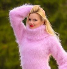 SUPERTANYA PINK Hand Knitted Mohair Sweater FUZZY Handmade Wolle Pullover S M