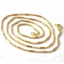 Fashion Womens Yellow Gold Plated Beaded Chain Necklace jewelry 52cm