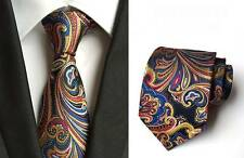 New Classic Paisley Navy Blue Red JACQUARD WOVEN 100% Silk Men's Tie Necktie
