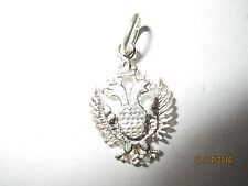 Russian Double Head Imperial Eagle Flag Charm Pendant Sterling Silver 40000