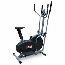 EXERCISE BIKE + ELLIPTICAL CROSS TRAINER - 2IN1- CARDIO FITNESS WORKOUT MACHINE