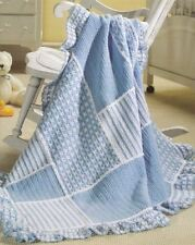 Blue Textured Patches Baby Afghan/Throw Blanket Crochet Pattern