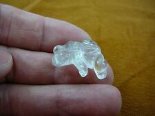 (y-fro-503) FROG WHITE quartz crystal albino gemstone stone CARVING frogs love