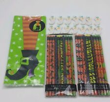 Lot of Halloween Pencils Ghost Erasers & Witch Shoe Pumpkins Spider Gift Bags