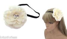 GRANDE fiore color crema fascia Sopracciglio Bandeau Kylie Fascia Per Capelli Con Cristalli & Perle