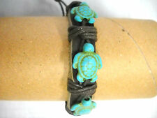 NEW THICK BROWN REAL LEATHER with 3 TURQUOISE HONU SEA TURTLES ADJ CORD BRACELET