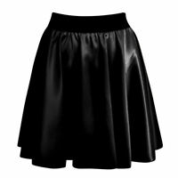 NEW LADIES BLACK SATIN WET LOOK SHINY HIGH WAISTED RA RA SKATER SKIRT SIZE 8-14