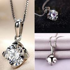 Pendants Ladies Plated Four Women Pendant Necklace Silver 925 Chain Crystal