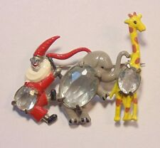 Vintage Art Deco Pot Metal Enamel Rhinestone CIRCUS Animals Clown Pin Brooch