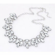 SILVER Women Shinny Multi Crystal Pendant Bib Chain Collar Necklace Jewelry New