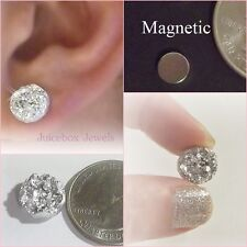 MAGNETIC Silver Faux Druzy, Non Pierced 12mm Stud Trendy No Holes Earrings #M171