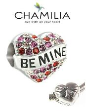 Genuine CHAMILIA 925 sterling silver & Swarovski BE MINE love heart charm bead