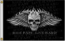 Flaming Skull Ride Fast Live Hard Bad Scratch 3' x 5' Flag Wall Banner #1049