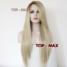 Hot Sale Mixed Light Blonde Women Hair Lace Front Wig Heat Resistant + Wig Cap