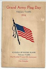 Grand Army Flag Day. February 12, 1934. Schools of Rhode Island. Civic Education