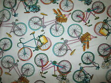 BIKE BICYCLE BASKETS WHITE PASTEL COLORS COTTON FABRIC FQ