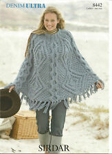 LADIES CHUNKY PONCHO KNITTING PATTERN  - ONE SIZE