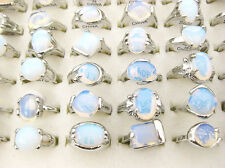 Wholesale Bulk 5pcs Big Crystal Opal Gemstone silver P Rings HOT Jewelry J134