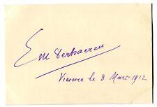 ÉMILE VERHAEREN - orig. Autogramm - Wien 1912 - autograph, signed, Emile