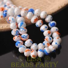 Hot 30pcs 8mm Glass Opaque White Rondelle Faceted Loose Beads Orange&Blue Dots