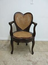 Antique Double Cain French Heart Shape Fireside Lounge Arm Chair Reproduction A