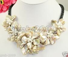 """Hand Weave Natural White Freshwater Pearl MOP Shell 5 Flowers Bib Necklace 18"""""""