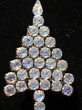 Anthony Attruia Clear Round Shape Rhinestone Christmas Tree Pin Brooch 2 1/2""