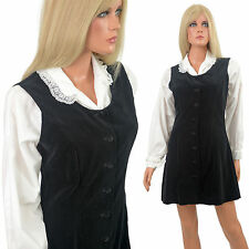 Vintage 60s MOD MINI DRESS Black Velvet Jumper w White Blouse Boho Gogo Shapely