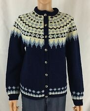 Vintage Turi Norway Hand knitted Pure Wool Fair Isle Nordic Cardigan L