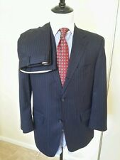 J PRESS Blue Flannel Wool Pinstripe SUIT Jacket 40R Pants W36/28L