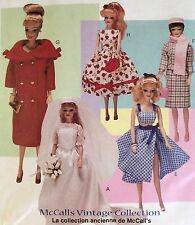 "CUT VINTAGE 1998 MC CALL'S BARBIE 11 1/2"" DOLL CLOTHES SEWING PATTERN 9664"