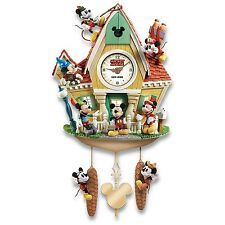 Disney Mickey Mouse Through The Years Cuckoo Clock With Lights Music And Motion