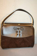 CHOCOLATE BROWN SUEDE VINYL VINTAGE 50s 60s HAND BAG SHOPPING TOTE PURSE
